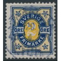 SWEDEN - 1892 2öre blue/yellow Numeral, two crown watermarks, used – Facit # 62vm2