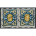 SWEDEN - 1892 2öre blue/orange Numeral, pair with two crown watermarks + variety, used – Facit # 62vm2