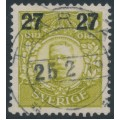SWEDEN - 1918 27öre on 65öre green-yellow Gustav V in medallion, used – Facit # 103a