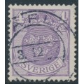 SWEDEN - 1911 4öre blue-lilac Small Coat of Arms, inverted lines watermark, used – Facit # 74cx