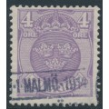 SWEDEN - 1911 4öre bluish lilac Small Coat of Arms, inverted lines + KPV watermark, used – Facit # 74cxz