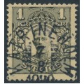 SWEDEN - 1919 1Kr grey-black on yellow Gustaf V in medallion, used – Facit # 96b