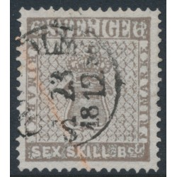 SWEDEN - 1855 6Skilling brownish grey Coat of Arms, thin paper, used – Facit # 3c