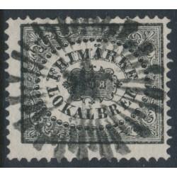 SWEDEN - 1856 1Skilling black Local Stamp (Lokalbref), used – Facit # 6a²