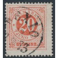 SWEDEN - 1872 20öre orangish red Ring Type, perf. 14, used – Facit # 22b