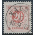 SWEDEN - 1877 20öre dull red Ring Type, perf. 13, used – Facit # 33a