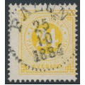 SWEDEN - 1878 24öre yellow Ring Type, perf. 13, used – Facit # 34k