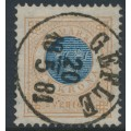 SWEDEN - 1878 1 Krona yellow-brown/dark blue Ring Type, perf. 13, used – Facit # 38b