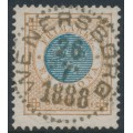 SWEDEN - 1878 1 Krona yellow-brown/blue Ring Type, perf. 13, used – Facit # 38g