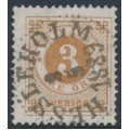 SWEDEN - 1887 3öre orange-brown Ring Type, perf. 13 with posthorn, used – Facit # 41b