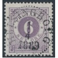 SWEDEN - 1888 6öre bluish lilac Ring Type, perf. 13 with posthorn, used – Facit # 44a