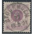SWEDEN - 1888 6öre red-lilac Ring Type, perf. 13 with posthorn, used – Facit # 44b