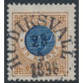 SWEDEN - 1886 1Krona brown/dark blue Ring Type, perf. 13 with posthorn, used – Facit # 49d