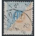 SWEDEN - 1874 1Kr light blue/greyish brown Postage Due (Lösen), perf. 14, used – Facit # L10b