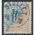 SWEDEN - 1874 1Kr blue/orange-brown Postage Due (Lösen), perf. 14, used – Facit # L10c