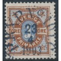 SWEDEN - 1892 1öre orange-brown/ultramarine-blue Numeral, used – Facit # 61b