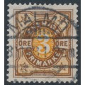 SWEDEN - 1892 3öre brown/orange Numeral, used – Facit # 63a