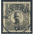 SWEDEN - 1911 1Kr black Gustaf V in medallion, crown watermark, used – Facit # 77b