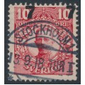SWEDEN - 1918 7öre on 10öre carmine-red Gustaf V in medallion, misplaced overprint, used – Facit # 99v1
