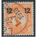 SWEDEN - 1918 12öre on 25öre red-orange Gustaf V in medallion, misplaced overprint, used – Facit # 100v3