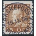 SWEDEN - 1936 15öre brown Gustav V, used – Facit # 178A