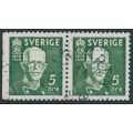SWEDEN - 1938 5öre green King Gustav V, perf. 3-sides + 4-sides pair, used – Facit # 266BC