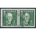 SWEDEN - 1938 5öre green King Gustav V, perf. 3-sides + 4-sides pair, used – Facit # 266BC