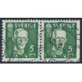 SWEDEN - 1938 5öre green King Gustav V, perf. 4-sides + 3-sides pair, used – Facit # 266CB