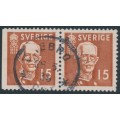 SWEDEN - 1938 15öre brown King Gustav V, perf. 3-sides + 4-sides pair, used – Facit # 267BC