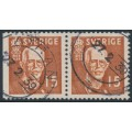 SWEDEN - 1938 15öre brown King Gustav V, perf. 3-sides + 4-sides pair, used – Facit # 267BC