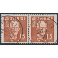 SWEDEN - 1938 15öre brown King Gustav V, perf. 4-sides + 3-sides pair, used – Facit # 267CB