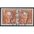 SWEDEN - 1938 15öre brown King Gustav V, perf. 4-sides + 3-sides pair, used – Facit # 267CB