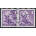 SWEDEN - 1939 10öre purple King Gustav V, perf. 4-sides + 3-sides pair, used – Facit # 273CB¹
