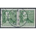 SWEDEN - 1938 5öre green Per Henrik Lind, perf. 4-sides + 3-sides pair, used – Facit # 318CB
