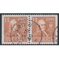 SWEDEN - 1939 15öre brown Linné, perf. 3-sides + 3-sides pair, used – Facit # 321BB