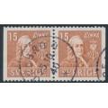 SWEDEN - 1939 15öre brown Linné, perf. 3-sides + 3-sides pair, used – Facit # 321BB