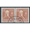 SWEDEN - 1939 15öre brown Linné, perf. 4-sides + 3-sides pair, used – Facit # 321CB