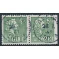 SWEDEN - 1940 5öre green Bellman, perf. 4-sides + 3-sides pair, used – Facit # 324CB