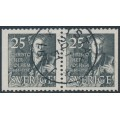 SWEDEN - 1951 25öre black Polhem, perf. 3-sides + 3-sides pair, has a 1951 cancel, used – Facit # 438BB