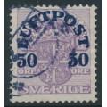 SWEDEN - 1920 50öre on 4öre Coat of Arms airmail overprint, crown watermark, used – Facit # 138vm