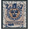 SWEDEN - 1918 3öre brown Ring Type Landstorm III overprint, used – Facit # 127