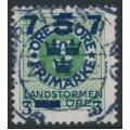 SWEDEN - 1918 5öre green Ring Type Landstorm III overprint, used – Facit # 128