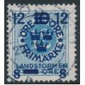 SWEDEN - 1918 12öre blue Ring Type Landstorm III overprint, used – Facit # 131