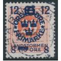 SWEDEN - 1918 20öre red Ring Type Landstorm III overprint, used – Facit # 132