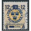 SWEDEN - 1918 24öre yellow Ring Type Landstorm III overprint, used – Facit # 133