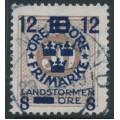 SWEDEN - 1918 30öre brown Ring Type Landstorm III overprint, used – Facit # 134