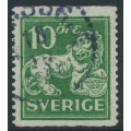 SWEDEN - 1921 10öre green Lion, perf. 13 on 2-sides, '/' watermark, used – Facit # 144Ecx