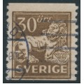 SWEDEN - 1920 30öre brown Lion, perf. 9¾ on 2-sides, '/' + KPV watermark, used – Facit # 148Acxz