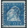 SWEDEN - 1920 20öre blue Gustaf II Adolf, perf. 9¾ on 2-sides, '/' watermark, used – Facit # 152Acx