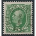 SWEDEN - 1891 5öre yellowish deep green Oscar II, used – Facit # 52a¹